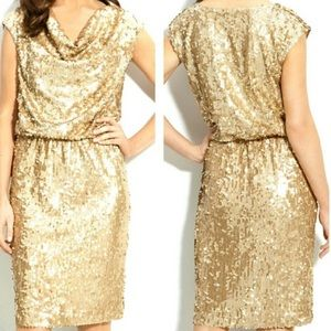 Eliza J Draped Neck Gold Sequin Dress Sz 12